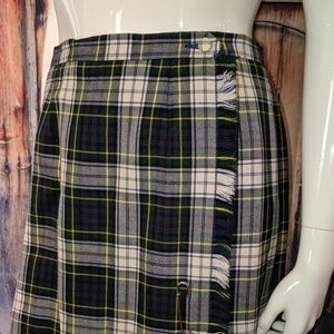 Vintage Mint 100% Wool Plaid Kilt Skirt Tartan 16